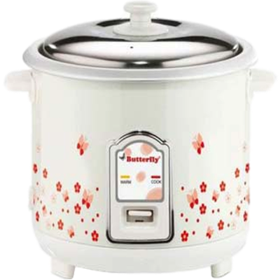 Butterfly Blossom Electrical Rice Cooker (1.8 L, White)