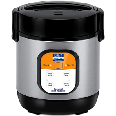 KENT Personal Rice Cooker (0.9 L, Black and Silver)