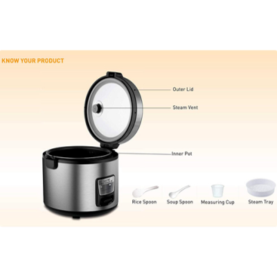 Picture of KENT 16021 Eletcric Rice Cooker (5 L, Steel)