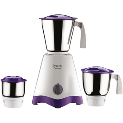 Preethi Crown MG 205 Mixer Grinder (White and Purple, 3 Jars)