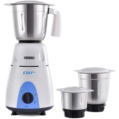 Usha 3772 Colt Mixer Grinder (White and Blue, 3 Jars)
