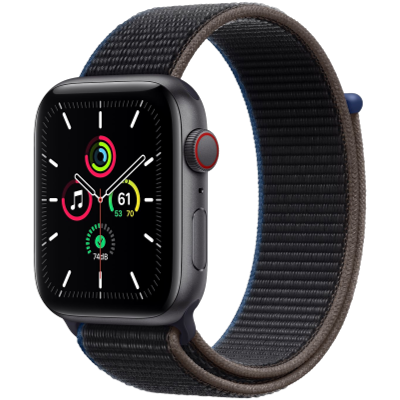 Picture of Apple Watch SE GPS + Cellular, 44mm Space Gray Aluminium Case with Charcoal Sport Loop