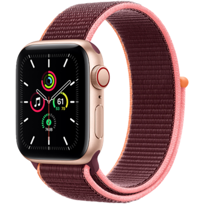 Picture of Apple Watch SE GPS + Cellular 44mm Gold Aluminium Case with Plum Sport Loop