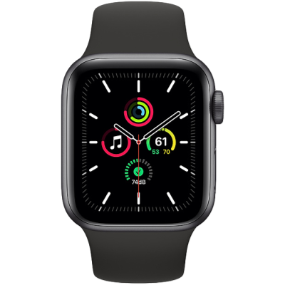 Apple Watch SE GPS + Cellular 44mm Space Gray Aluminium Case with Black Sport Band - Regular