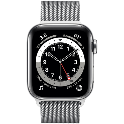 Apple Watch Series 6 GPS + Cellular 44mm Silver Stainless Steel Case with Silver Milanese Loop