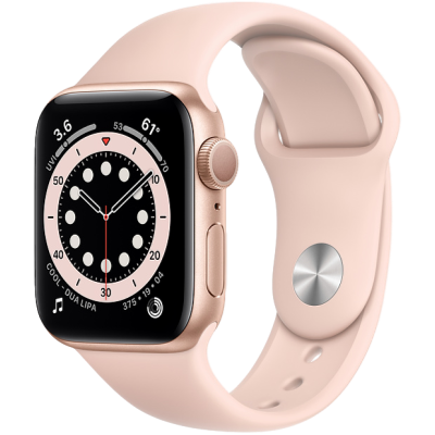 Picture of Apple Watch Series 6 GPS 44mm Gold Aluminium Case with Pink Sand Sport Band - Regular