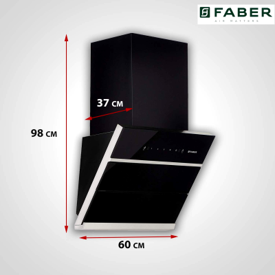 Picture of Faber HOOD ZENITH FL SC BK 60 Auto Clean Wall Mounted Chimney