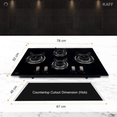 Picture of Kaff 4 Burner Glass Hob (Black, HBR 784C)